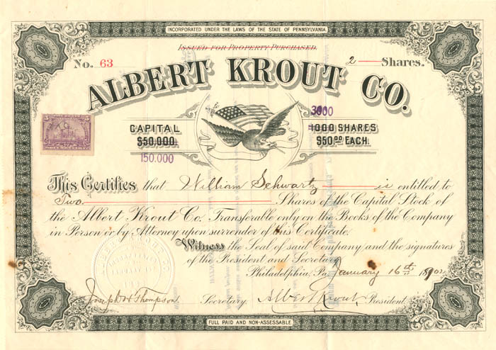 Albert Krout Co. signed by Albert Krout