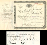 Central Dock & Terminal Railway Co. signed by Alfred H. Smith - SOLD