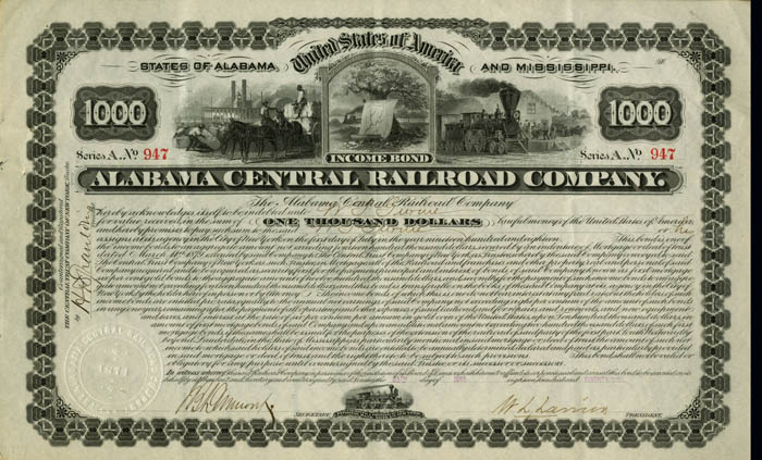 Alabama Central Railroad Company - Bond - SOLD
