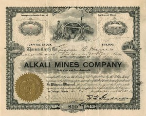 Alkali Mines Company - Only Certificate #24 available
