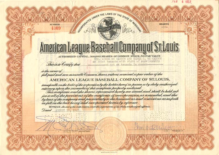 American League Baseball Company of St. Louis