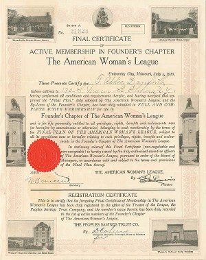 American Woman's League Certificate - SOLD