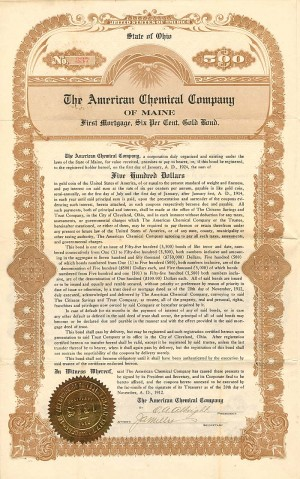 American Chemical Company of Maine - Bond - SOLD