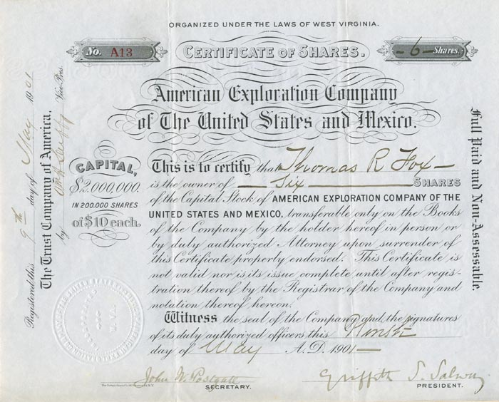 American Exploration Company of the United States and Mexico - SOLD