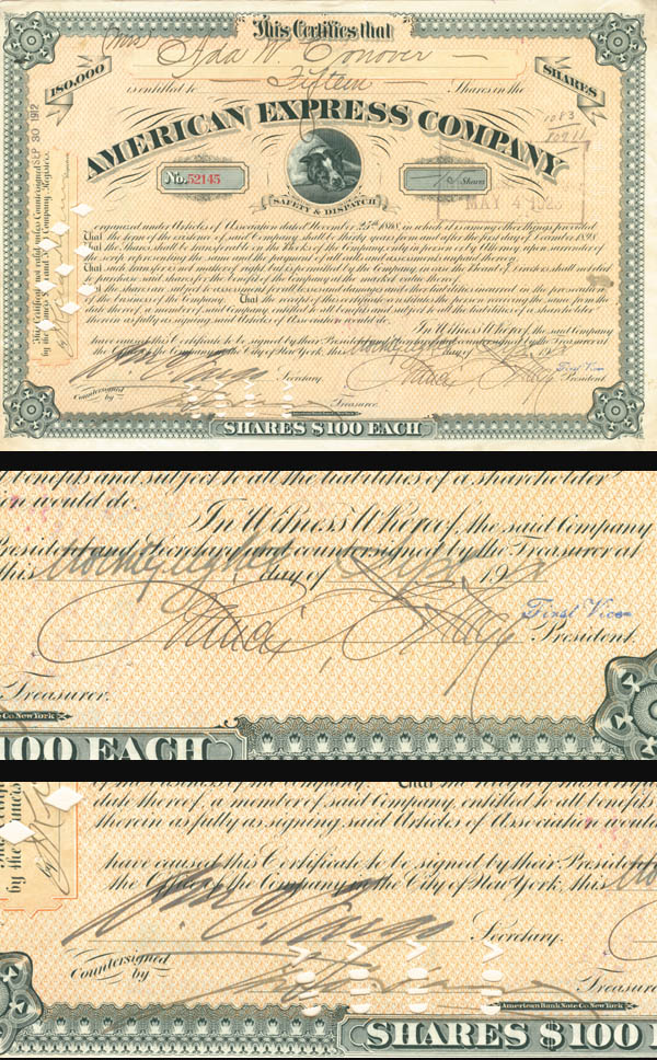 James F. & Wm. C. signed American Express Company