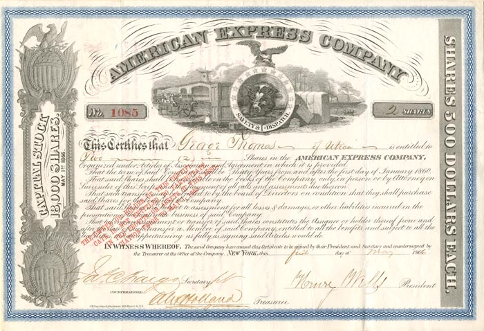 American Express Company signed by Henry Wells and Jas. C. Fargo