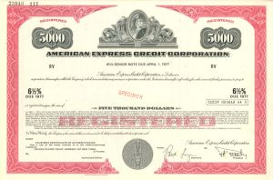 American Express Credit Corporation $5000 Bond