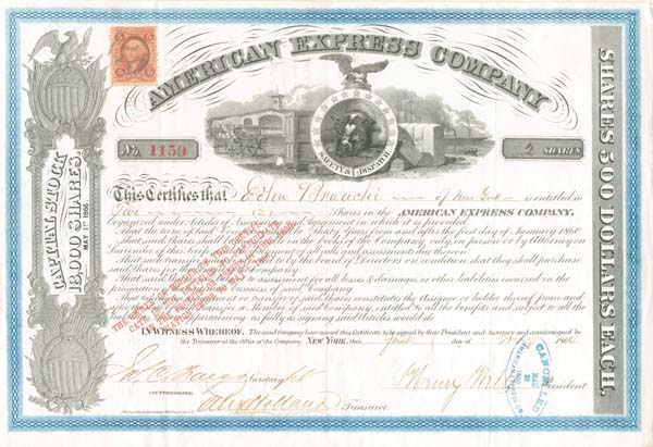 American Express Company signed by James C. Fargo and Henry Wells