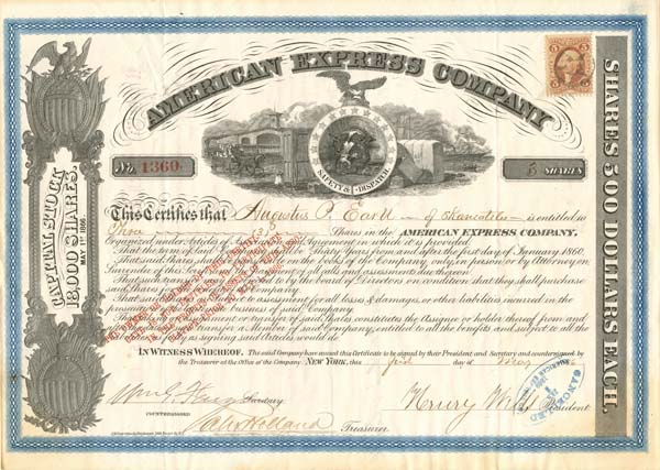 American Express Company Stock signed by William G. Fargo and Henry Wells - Stock Certificate - SOLD