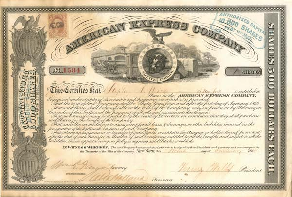 American Express Company signed by Henry Wells and Wm. G. Fargo - SOLD
