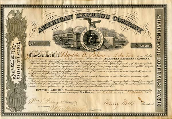 American Express Company signed by Henry Wells and Wm. G. Fargo - Stock Certificate - SOLD