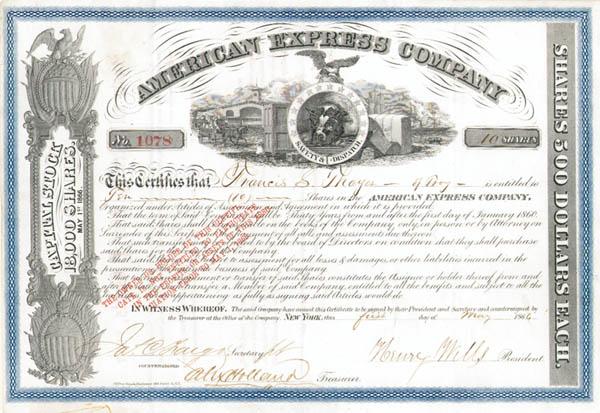 Henry Wells & James C. Fargo - American Express Co - Stock Certificate
