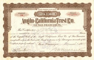 Anglo-California Trust Co. of San Francisco - SOLD