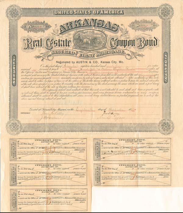Arkansas Real Estate Coupon Bond Sold