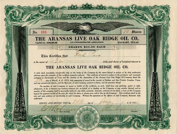 Aransas Live Oak Ridge Oil Co. - Stock Certificate