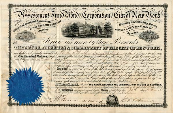 Assessment Fund Bond of the Corporation of the City of New York