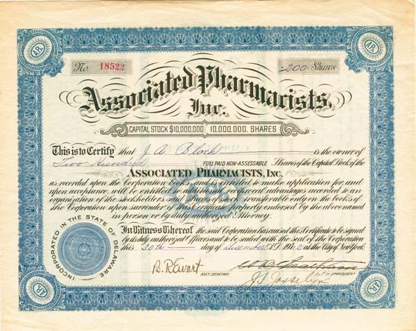 Associated Pharmacists, Inc - Stock Certificate