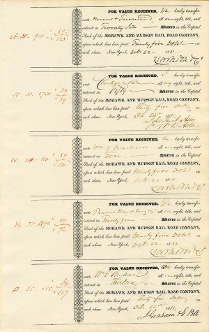 Uncut Sheet of 5 Mohawk and Hudson RR signed by Wm. B. Astor