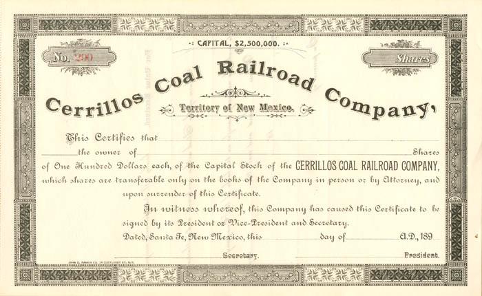 Cerrillos Coal Railroad Company, Territory of New Mexico