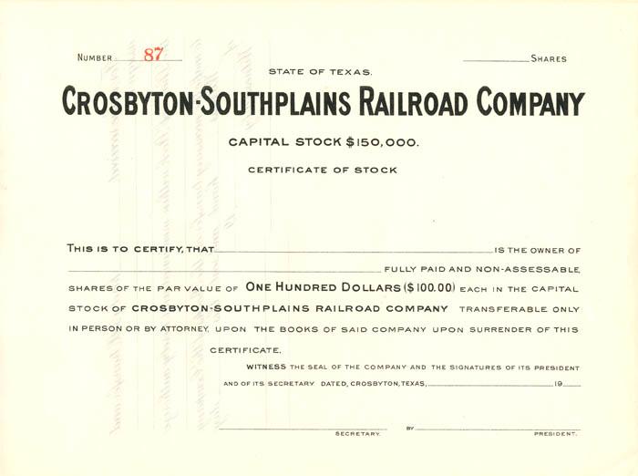 Crosbyton-Southplains Railroad Company