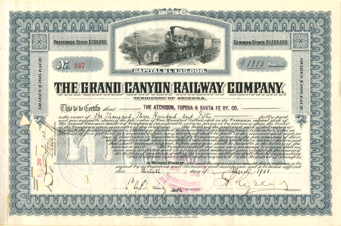 Grand Canyon Railway Company - Stock Certificate
