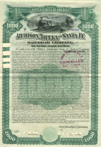 Atchison, Topeka and Santa Fe Railroad Company - $1,000
