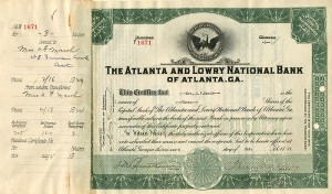 Atlanta and Lowry National Bank of Atlanta, GA. - SOLD