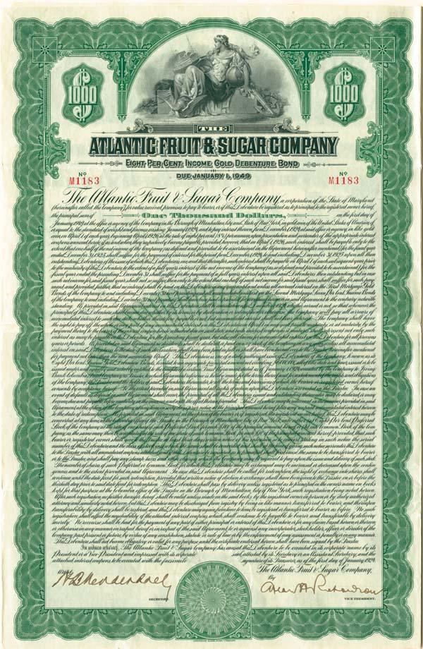 Atlantic Fruit & Sugar Company - Bond