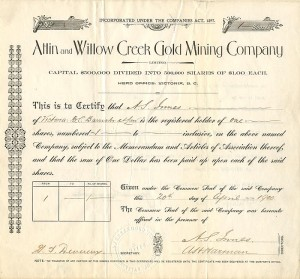 Atlin and Willow Creek Gold Mining Company - SOLD