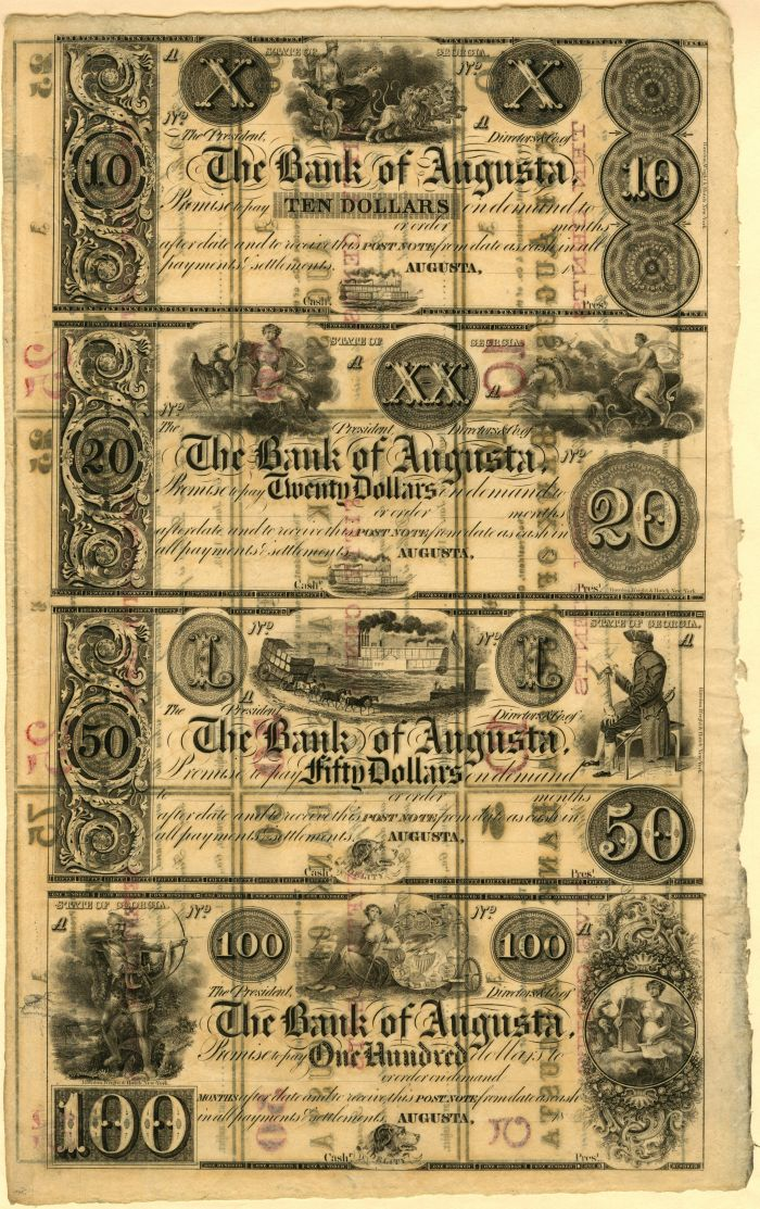 Bank of Augusta - Uncut Obsolete Sheet - Broken Bank Notes