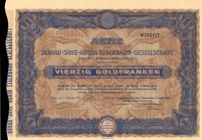 Donau-Save-Adria Eisenbahn-Gesellschaft - Stock Certificate