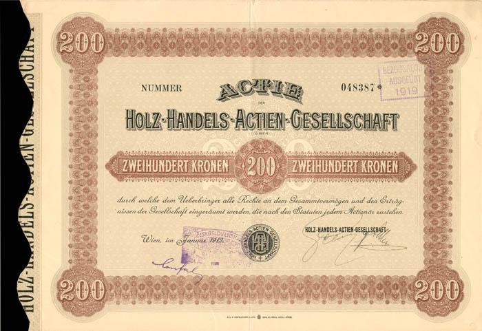 Holz-Handels-Actien-Gesellschaft - Stock Certificate