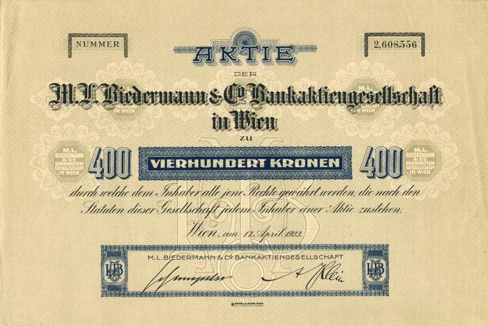 M.L. Biedermann and Co. Bankaktiengesellschaft - Stock Certificate