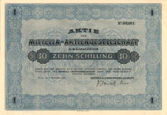 Mittella-Aktiengesellschaft - Stock Certificate
