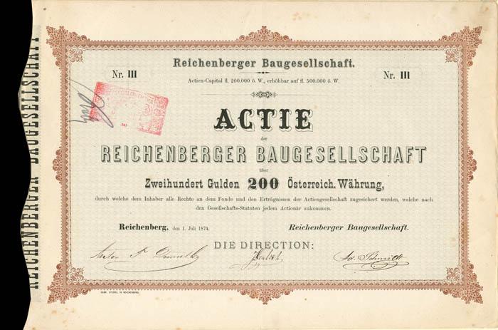 Reichenberger Baugesellschaft - Stock Certificate