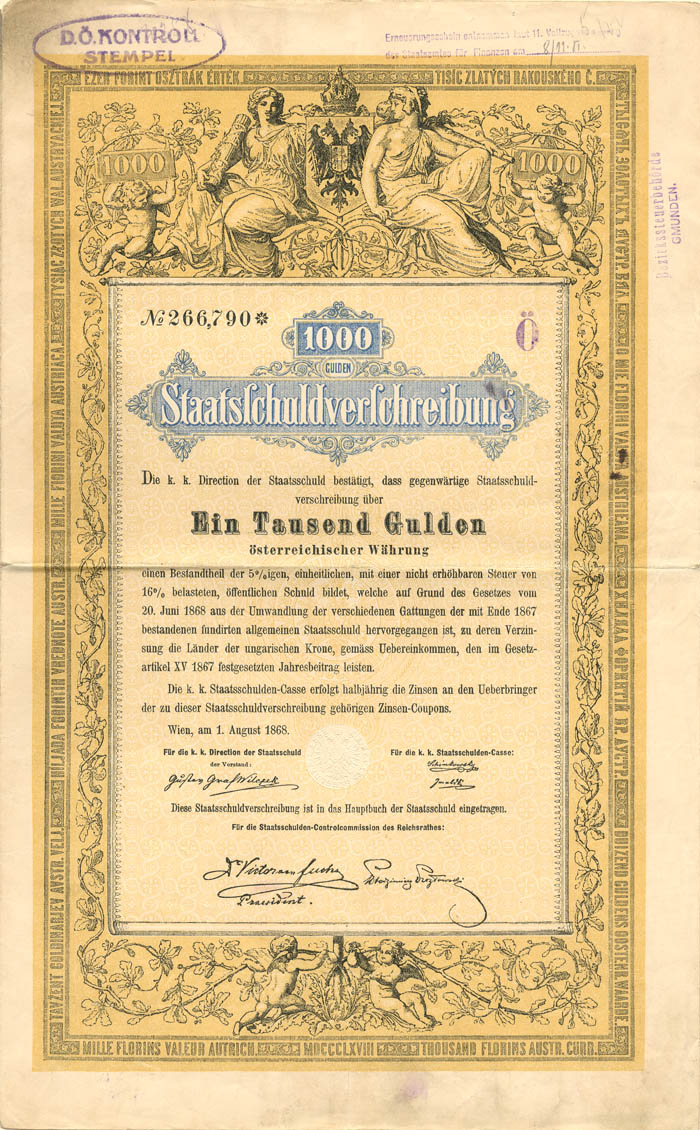 1,000 or 100 Gulden Austrian Bond