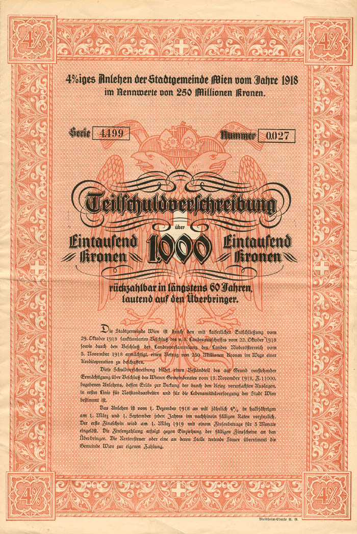 1,000 Kronen Austrian Bond