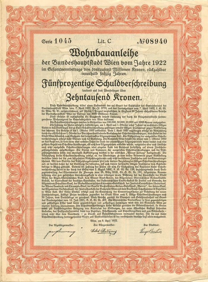 250 Kronen Austrian Bond