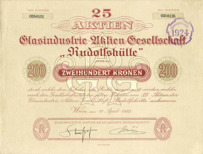 Glasindustrie-Aktien-Gesellschaft - Stock Certificate