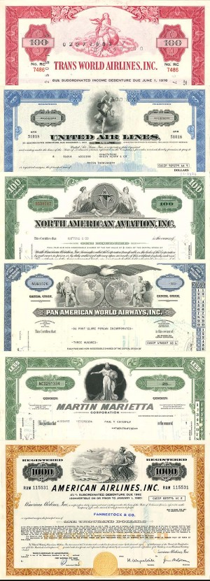 Aviation Collection of 6 Stocks and Bonds - SOLD