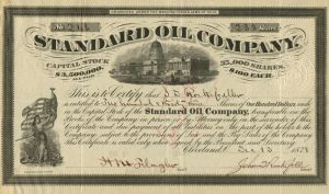 Standard Oil Company Issued to and Signed 3 times by John Davison Rockefeller