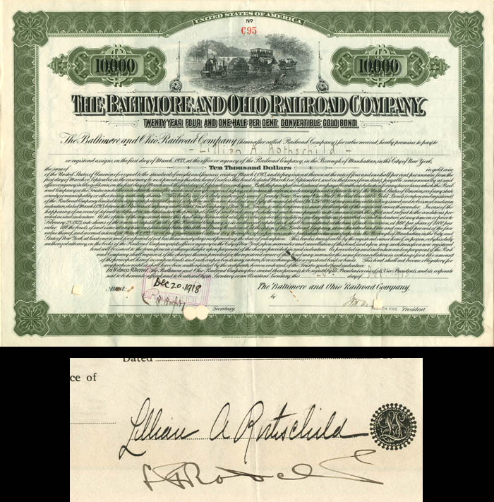 Baltimore and Ohio Railroad Company Issued to and Signed by Lillian Rothschild