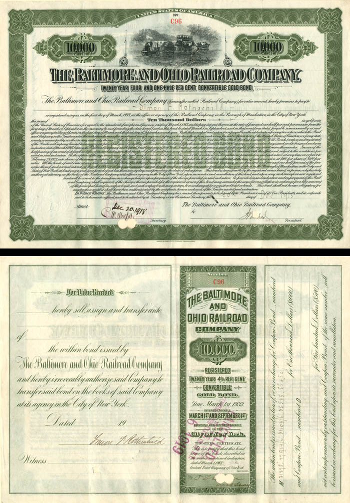 Baltimore and Ohio Railroad Company Issued to and Signed by Simon Rothschild