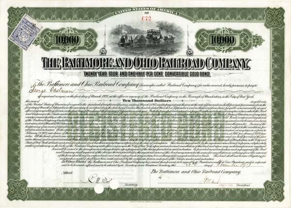 George Eastman - Baltimore & Ohio Railroad - Bond - SOLD