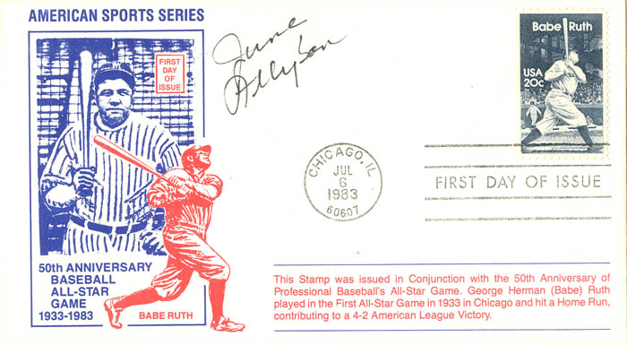 Babe Ruth envelope signed by June Allyson  - SOLD