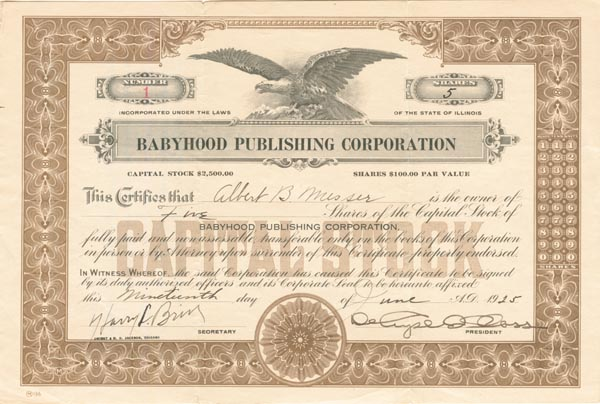 Babyhood Publishing Corporation - SOLD
