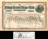 Pittsburgh, Cincinnati, Chicago and St. Louis Railway Company signed by J.S. Bache