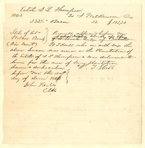 Hiring of Slave Document - SOLD