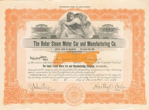 Baker Steam Motor Car & Manufacturing Co. - SOLD