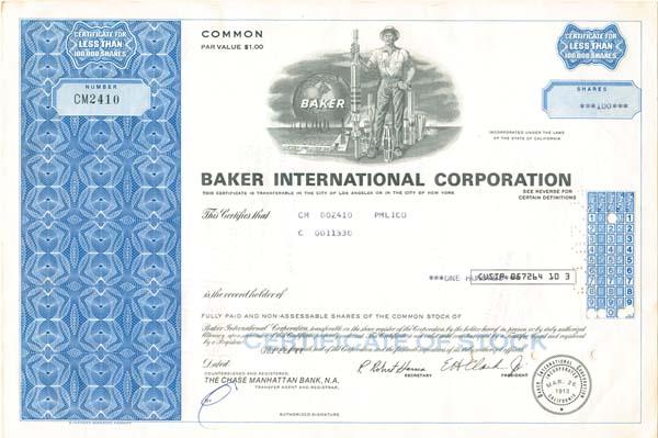Baker International Corporation - Stock Certificate - SOLD